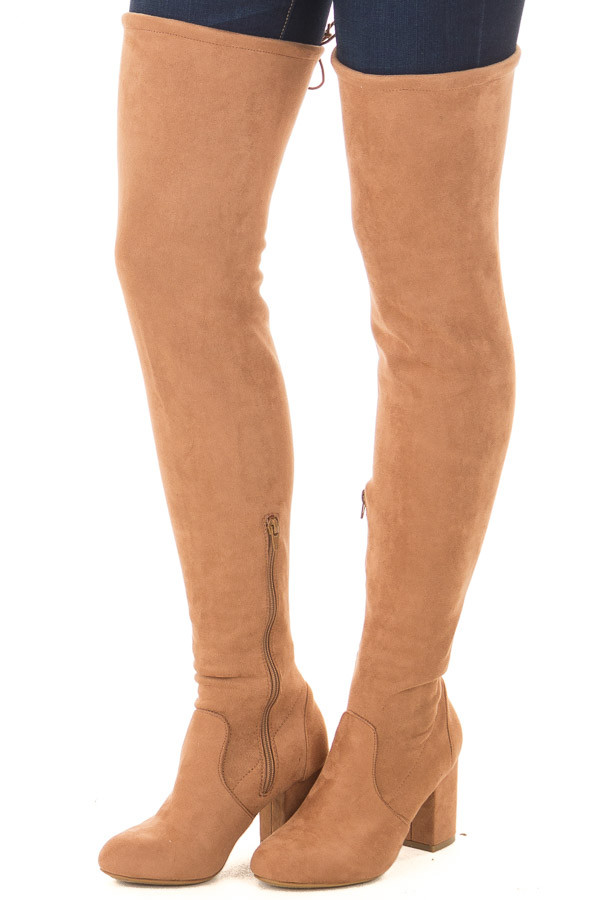 Camel Faux Suede Over the Knee Boot with Back Tie front side view