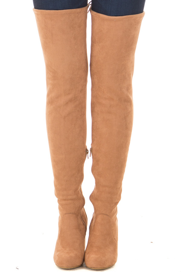 Camel Faux Suede Over the Knee Boot with Back Tie front view