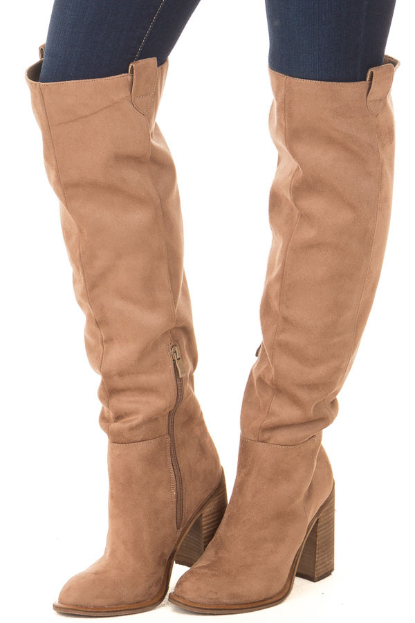 Camel Faux Suede Tall Heeled Boot with Pull On Tab Detail front side view