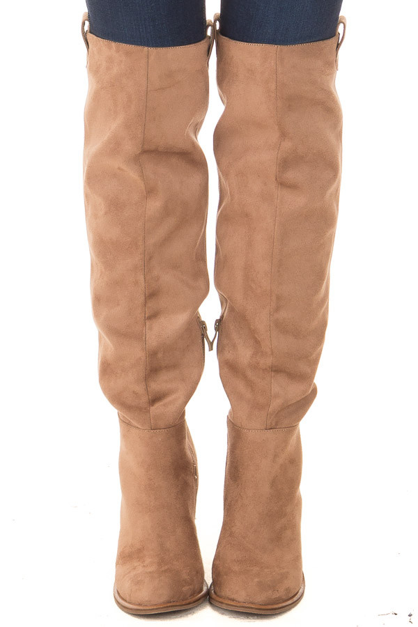 Camel Faux Suede Tall Heeled Boot with Pull On Tab Detail front view
