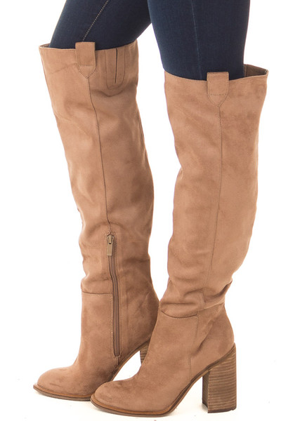 Camel Faux Suede Tall Heeled Boot with Pull On Tab Detail side view