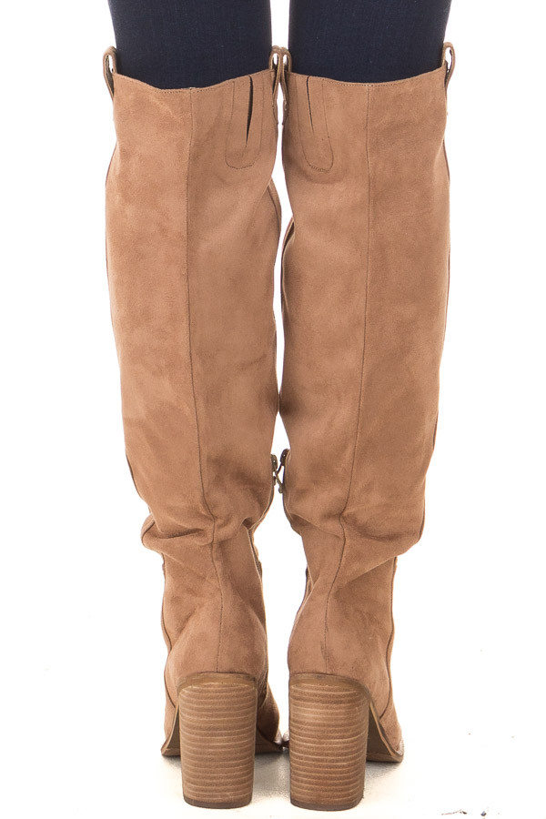 Camel Faux Suede Tall Heeled Boot with Pull On Tab Detail back view