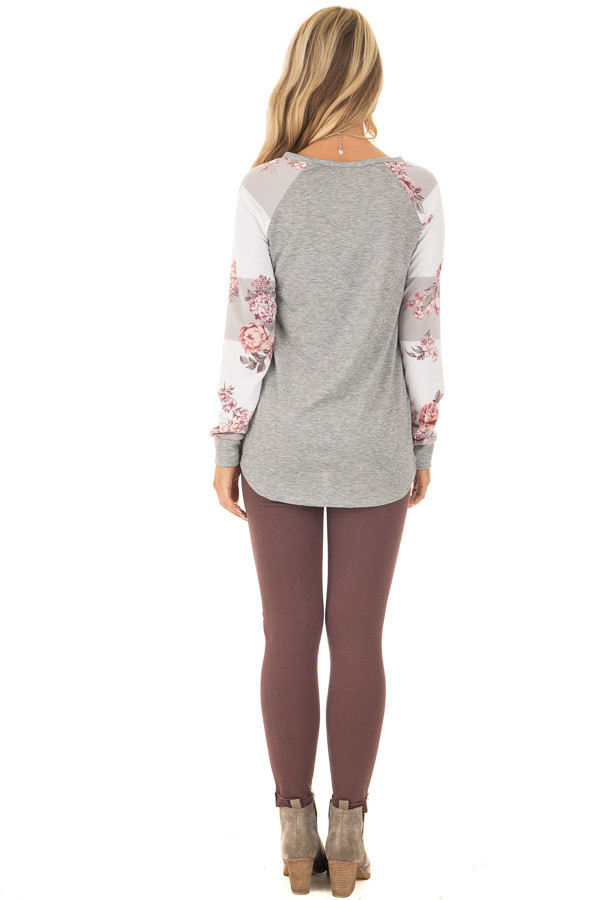 Heather Grey Long Sleeve Top with Floral Print Sleeves back full body