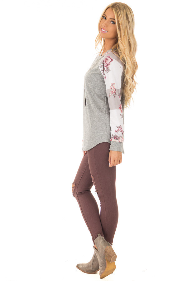 Heather Grey Long Sleeve Top with Floral Print Sleeves side full body