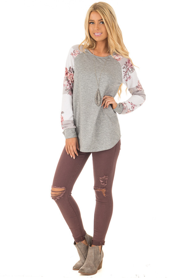 Heather Grey Long Sleeve Top with Floral Print Sleeves front full body