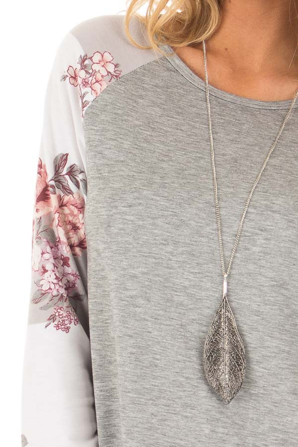 Heather Grey Long Sleeve Top with Floral Print Sleeves detail
