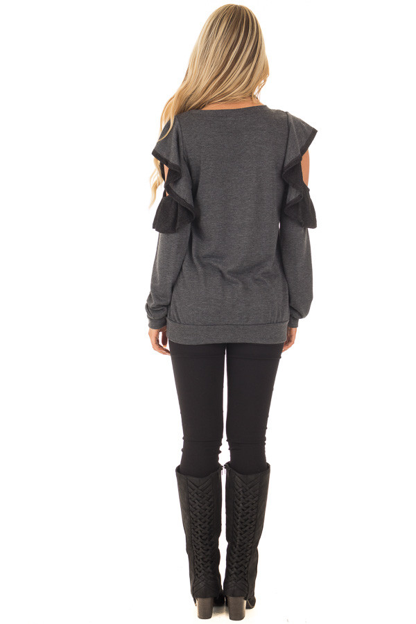Charcoal Cold Shoulder Sweater with Ruffles back full body