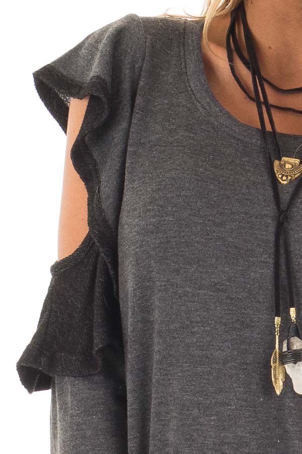 Charcoal Cold Shoulder Sweater with Ruffles detail