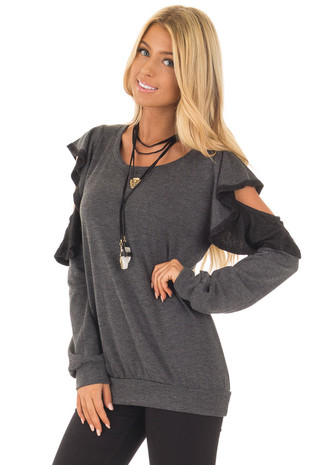 Charcoal Cold Shoulder Sweater with Ruffles front close up