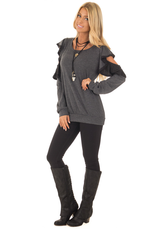 Charcoal Cold Shoulder Sweater with Ruffles front full body