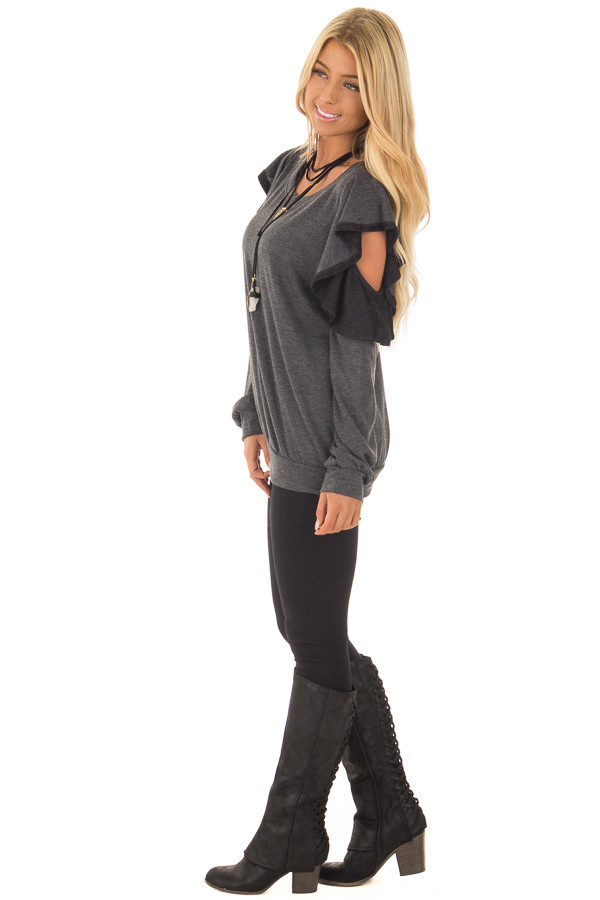 Charcoal Cold Shoulder Sweater with Ruffles side full body