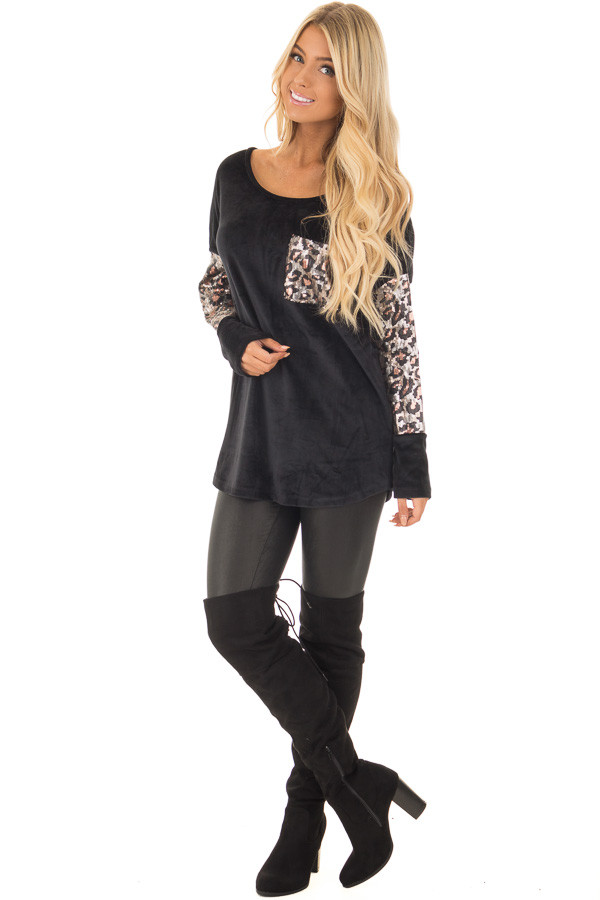 Black Plush Velour Top with Animal Print Sequins front full body