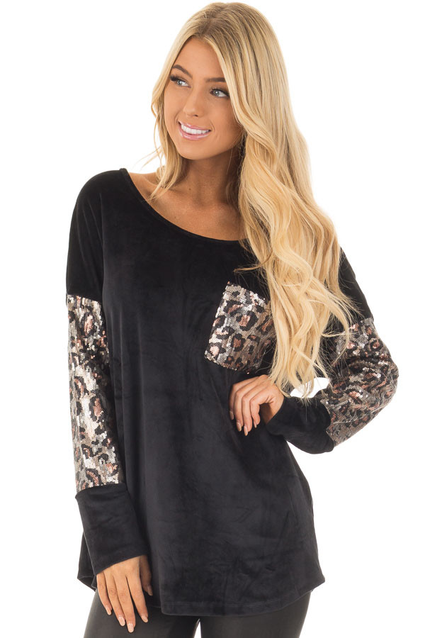Black Plush Velour Top with Animal Print Sequins front close up