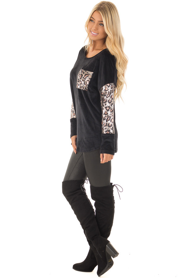 Black Plush Velour Top with Animal Print Sequins side full body