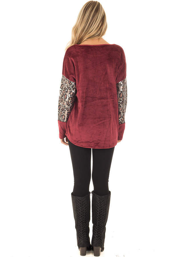 Burgundy Plush Velour Top with Animal Print Sequins back full body