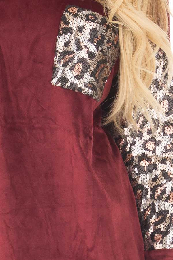 Burgundy Plush Velour Top with Animal Print Sequins detail