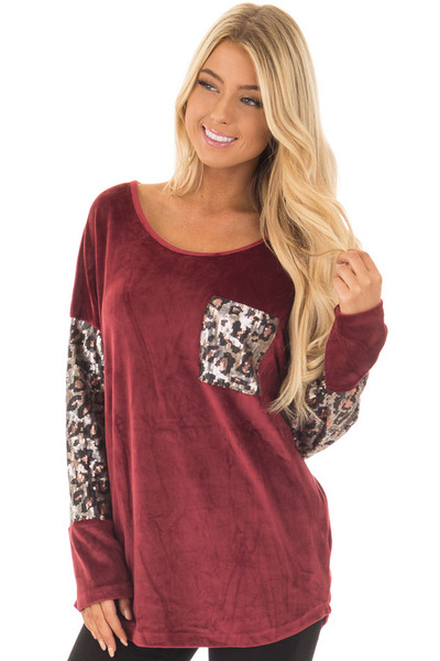 Burgundy Plush Velour Top with Animal Print Sequins front close up