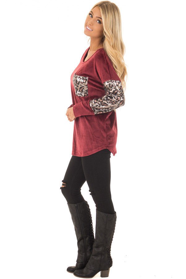 Burgundy Plush Velour Top with Animal Print Sequins side full body