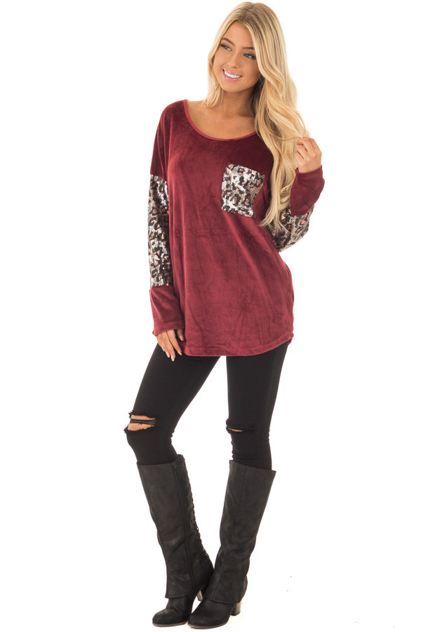 Burgundy Plush Velour Top with Animal Print Sequins front full body