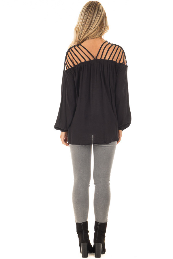 Black Long Sleeve Top with Caged Neckline back full body