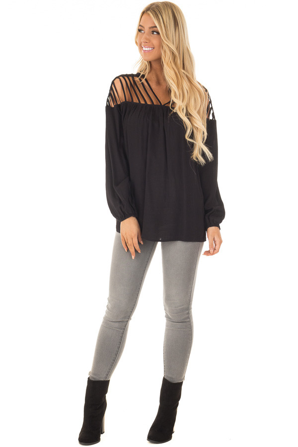 Black Long Sleeve Top with Caged Neckline front full body