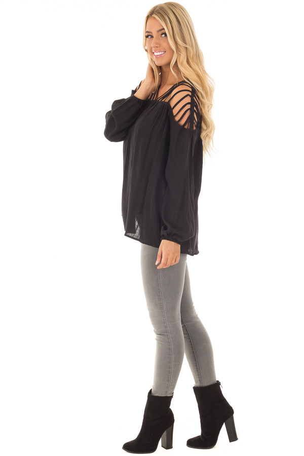 Black Long Sleeve Top with Caged Neckline side full body