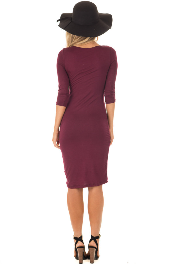 Burgundy 3/4 Sleeve Bodycon Midi Dress back full body