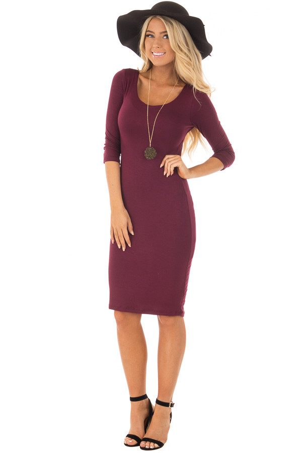 Burgundy 3/4 Sleeve Bodycon Midi Dress front full body