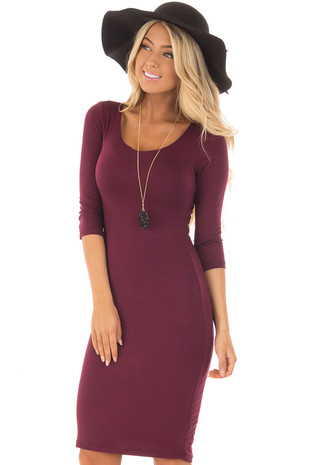 Burgundy 3/4 Sleeve Bodycon Midi Dress front close up