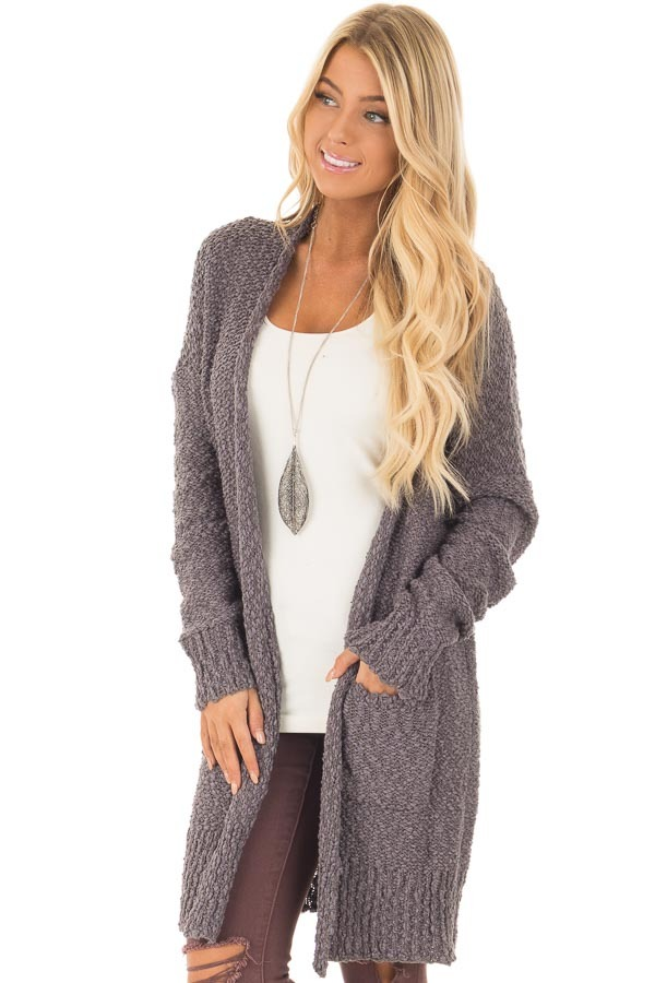 Charcoal Long Sleeve Open Cardigan with Front Pockets front closeup