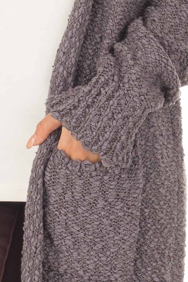 Charcoal Long Sleeve Open Cardigan with Front Pockets front detail