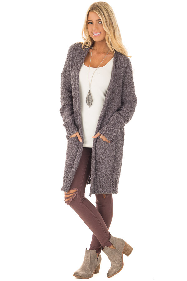 Charcoal Long Sleeve Open Cardigan with Front Pockets front full body