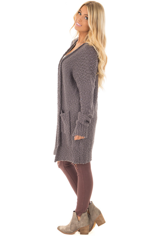 Charcoal Long Sleeve Open Cardigan with Front Pockets side full body