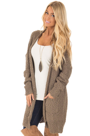 Olive Long Sleeve Open Cardigan with Front Pockets front closeup