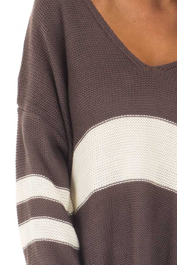 Charcoal and Cream Varsity Striped V Neck Sweater detail
