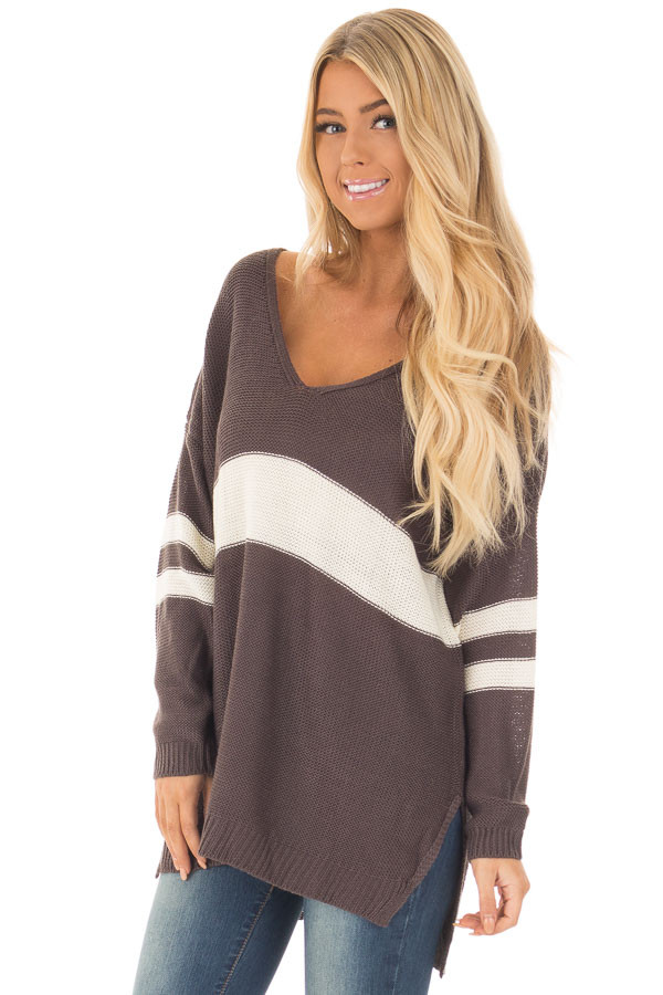 Charcoal and Cream Varsity Striped V Neck Sweater closeup