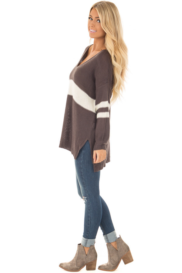 Charcoal and Cream Varsity Striped V Neck Sweater side full body