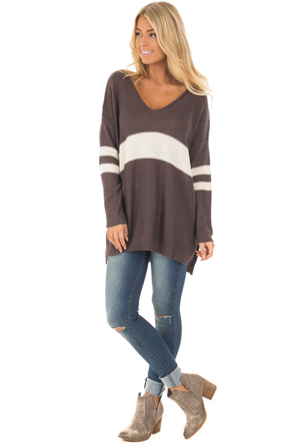 Charcoal and Cream Varsity Striped V Neck Sweater front full body