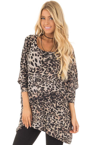 Taupe and Black Leopard Print Soft Knit Oversized Top closeup