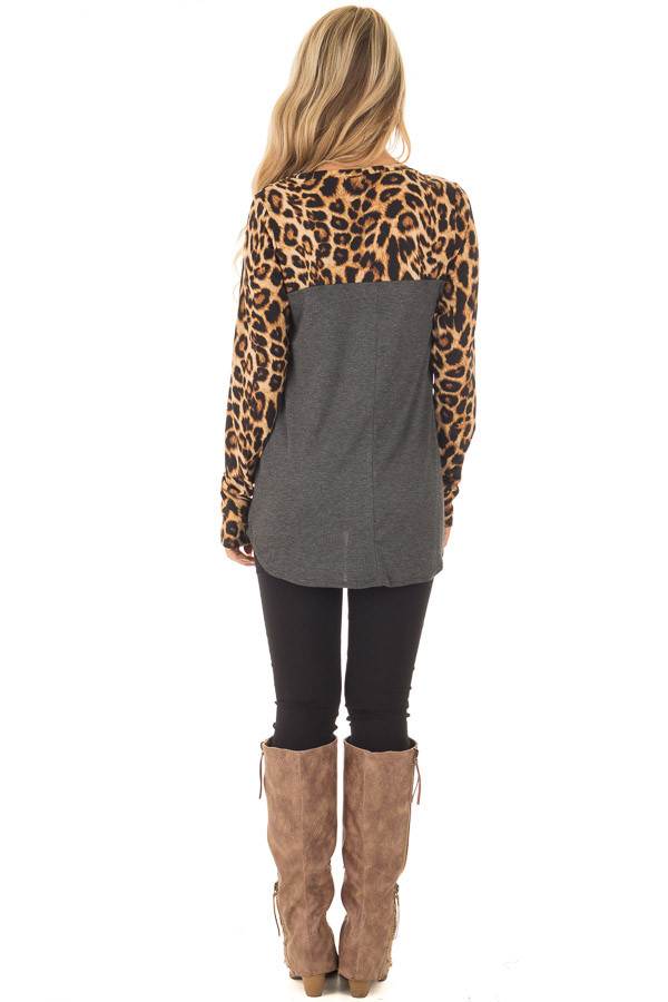 Charcoal Leopard Long Sleeve Top with Floral Print Pocket back full body