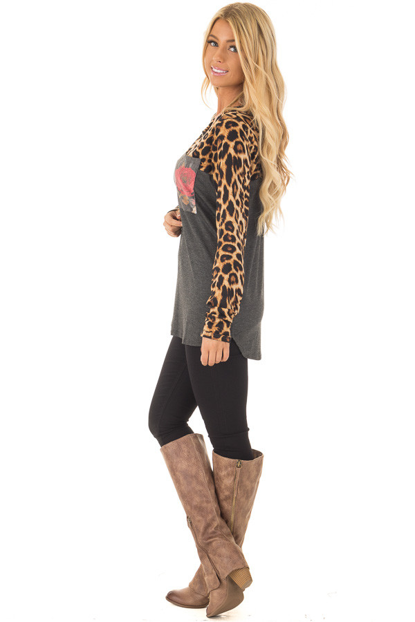 Charcoal Leopard Long Sleeve Top with Floral Print Pocket side full body