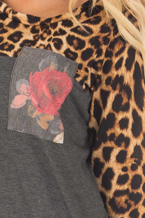 Charcoal Leopard Long Sleeve Top with Floral Print Pocket detail
