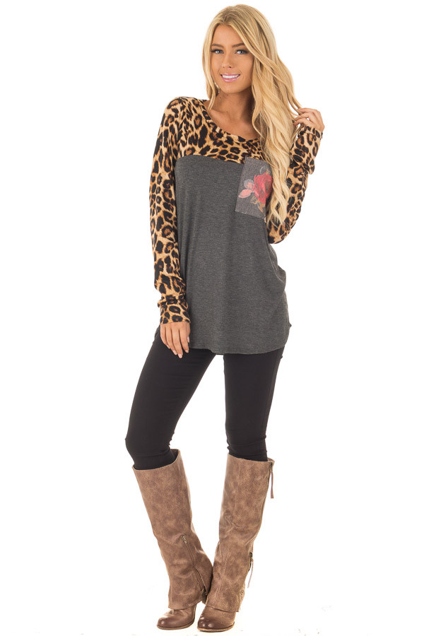 Charcoal Leopard Long Sleeve Top with Floral Print Pocket front full body