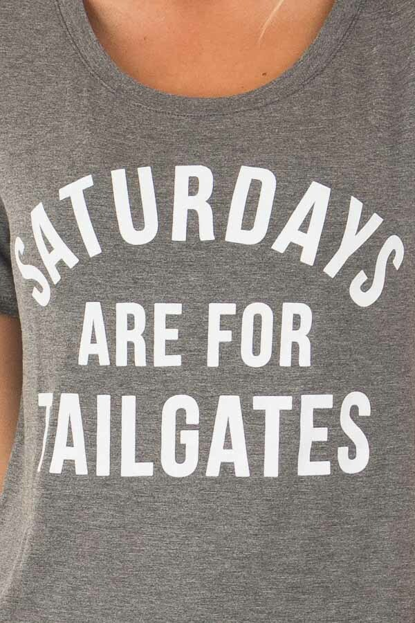 Charcoal 'Saturdays Are For Tailgates' Top detail
