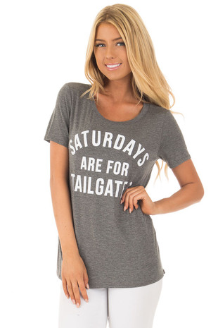 Charcoal 'Saturdays Are For Tailgates' Top closeup