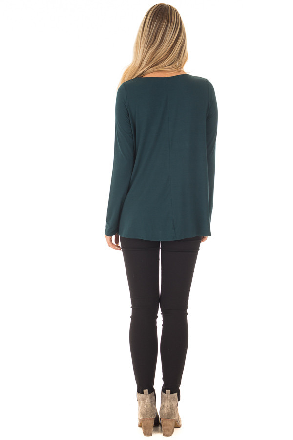 Hunter Green Long Sleeve Top with Caged Neckline back full body