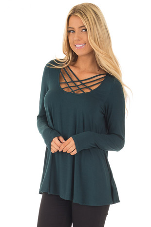 Hunter Green Long Sleeve Top with Caged Neckline closeup