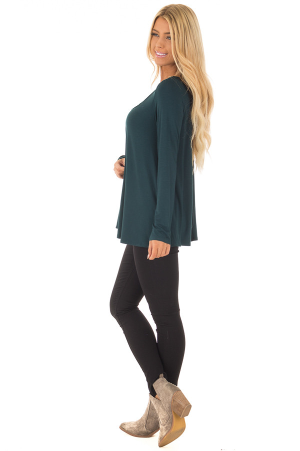 Hunter Green Long Sleeve Top with Caged Neckline side full body
