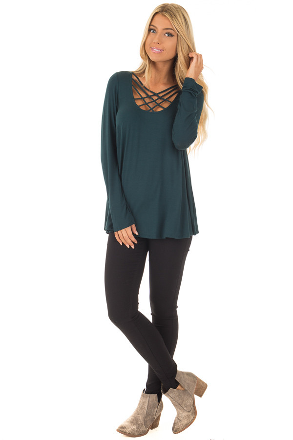 Hunter Green Long Sleeve Top with Caged Neckline front full body