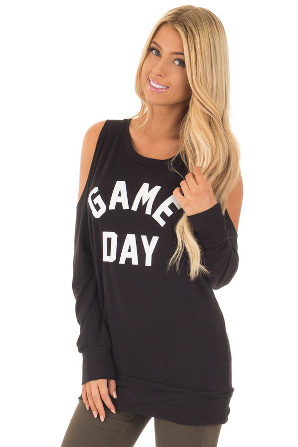 Black 'Game Day' Long Sleeve Cold Shoulder Top closeup